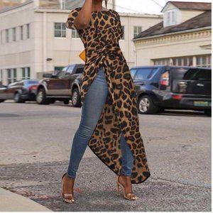 Brown Leopard Print Asymetrical Blouse
